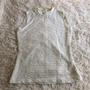 Reiss White Crochet Lace Mock Neck Sleeveless Tank